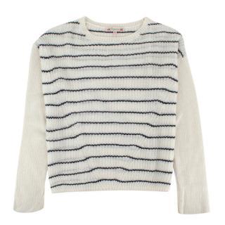 Bonpoint Kids 12Y White & Navy Striped Knit Sweater