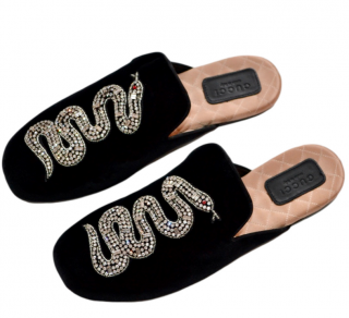 Gucci Black Velvet Snake Embroidered Lawrence Slippers
