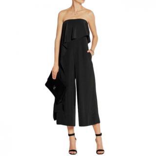 Tibi Black Draped Silk Jumpsuit