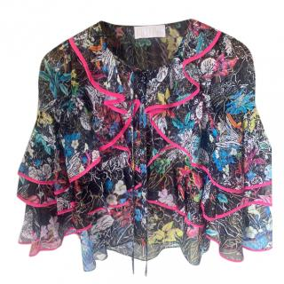 Peter Pilotto Neon trimmed Floral Ruffled Chiffon Blouse