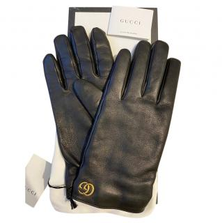 Gucci Mens Black Leather Marmont Gloves - Size 9