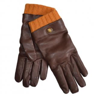 Gucci Mens Brown Wool Trim Leather Gloves - Size 9