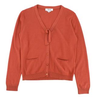 Bonpoint Orange Cotton Knit Cardigan