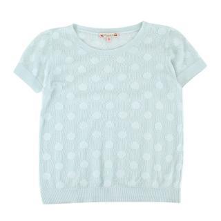 Bonpoint Mint Green Cotton Polka Dot Open Knit T-shirt