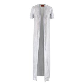 Missoni Short Sleeved Metallic Longline Open Cardigan/Cover-Up