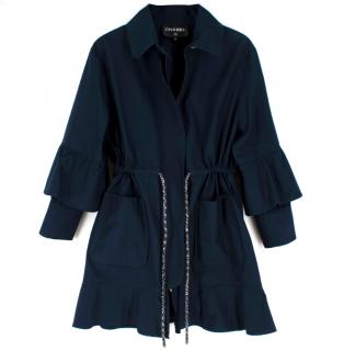 Chanel Navy Ruffled Coat with Tweed Drawstring Waist