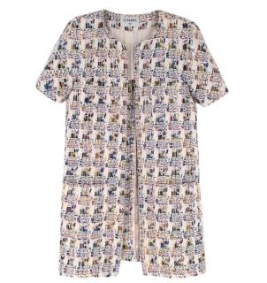 Chanel Multicolor Tweed Short Sleeve Collarless Coat/Dress