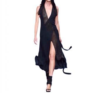 Versace Black Sheer Embellished Draped Runway Gown
