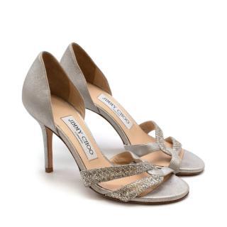 Jimmy Choo Silver Glitter Sandals - size 34