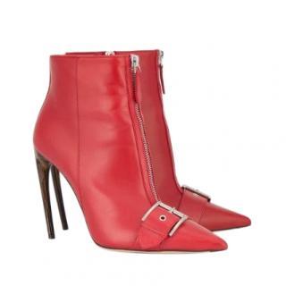 Alexander McQueen buckle & zip front Horn Heel boots