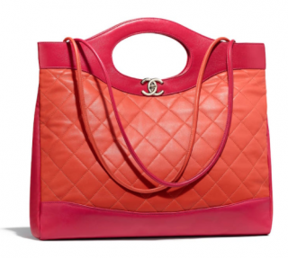 Chanel Orange & Pink Lambskin Chanel 31 Shopping Tote