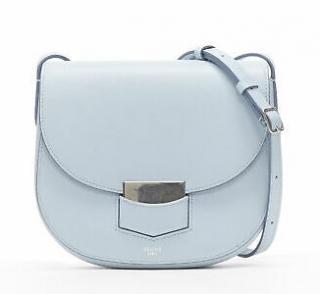 Celine Pool Blue Leather Trotteur Shoulder Bag