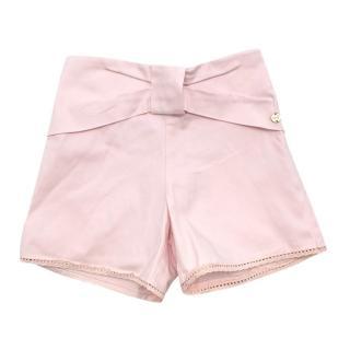 Lili Gaufrette Girls Pink Cotton Bow Shorts