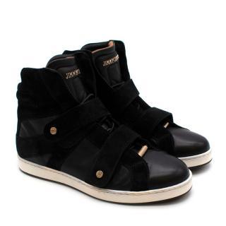 Jimmy Choo Black Leather & Suede Hightop Sneakers- Sz 34.5