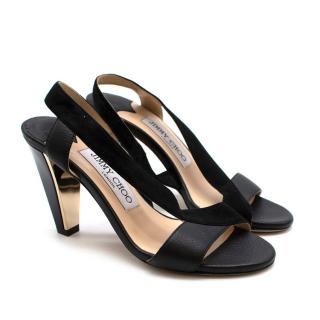 Jimmy Choo 85mm Black Leather and Suede Sandal: Size 34