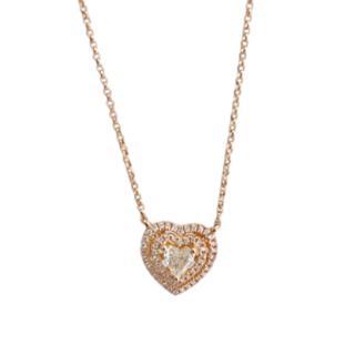 Bespoke Rose Gold Diamond Heart Pendant Necklace