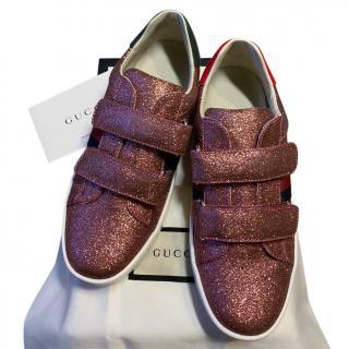 Gucci Pink Glitter Velcro Strap Web Sneakers