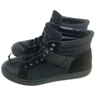 Chanel Black Suede & Leather High Top Sneakers