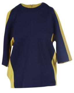 Marni Yellow & Navy Wool Blend Oversize Top