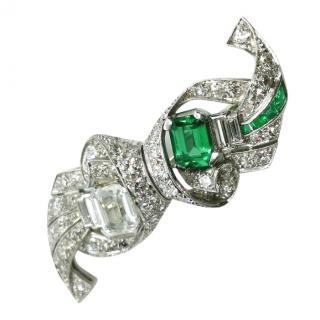Bespoke Art Deco Paste, Emerald & Diamond Platinum Set Brooch