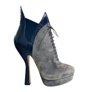 Alaia Suede & Snakeskin Lace-Up Ankle Boots