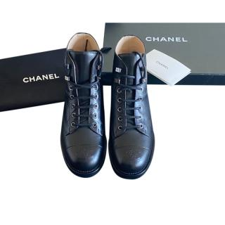 Chanel Black Lace-Up Calfskin Boots