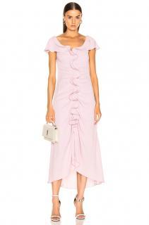 Sjes Marjan Pink Crepe Marocain Ruffle Dress