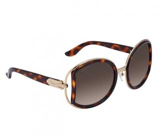 Ferragamo SF719S Tortoiseshell Round Sunglasses