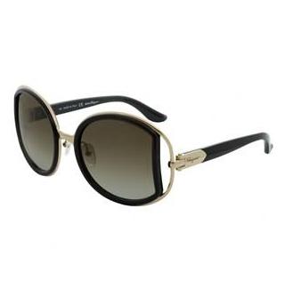 Ferragamo SF719S Black & Grey Round Sunglasses