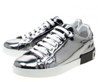 Dolce & Gabbana Metallic Mirror Leather Trainers
