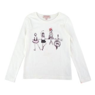 Lili Gaufrette White Ballerina Printed Long Sleeve T-Shirt