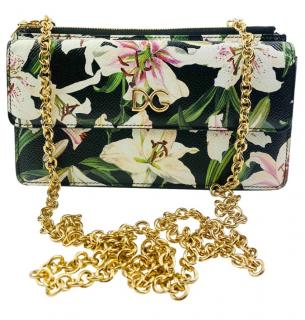 Dolce & Gabbana Black Lily Print Wallet on Chain