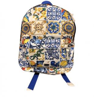 Dolce & Gabbana Junior Majolica Print Backpack