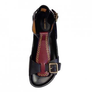 Isabel Marant Suede & Leather Eyelet Detail Sandals