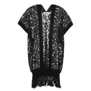 Valentino Black Lace Open Poncho/Cover-Up