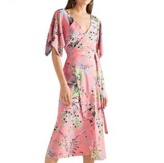 DVF Pink Floral Print Silk Crepe De Chine Wrap Dress