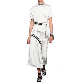 Sportmax White Asymmetric Waist Band Detail Midi Skirt