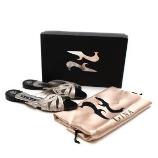 Gina Silver Leather Crystal Embellished Sandals