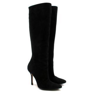 Oscar de la Renta Black Suede Heeled Knee Boots