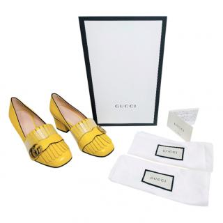 Gucci Yellow Marmont Leather Mid Heel Pumps
