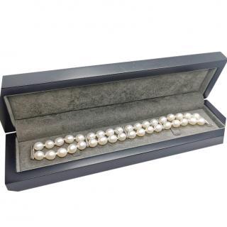 Fustains Freshwater Pearl Double Strand Diamond Bracelet