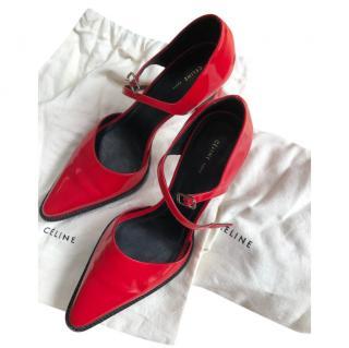 Celine red patent ankle strap pumps