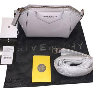 Givenchy pearl grey grained leather Nano Antigona trapezoid-shaped bag
