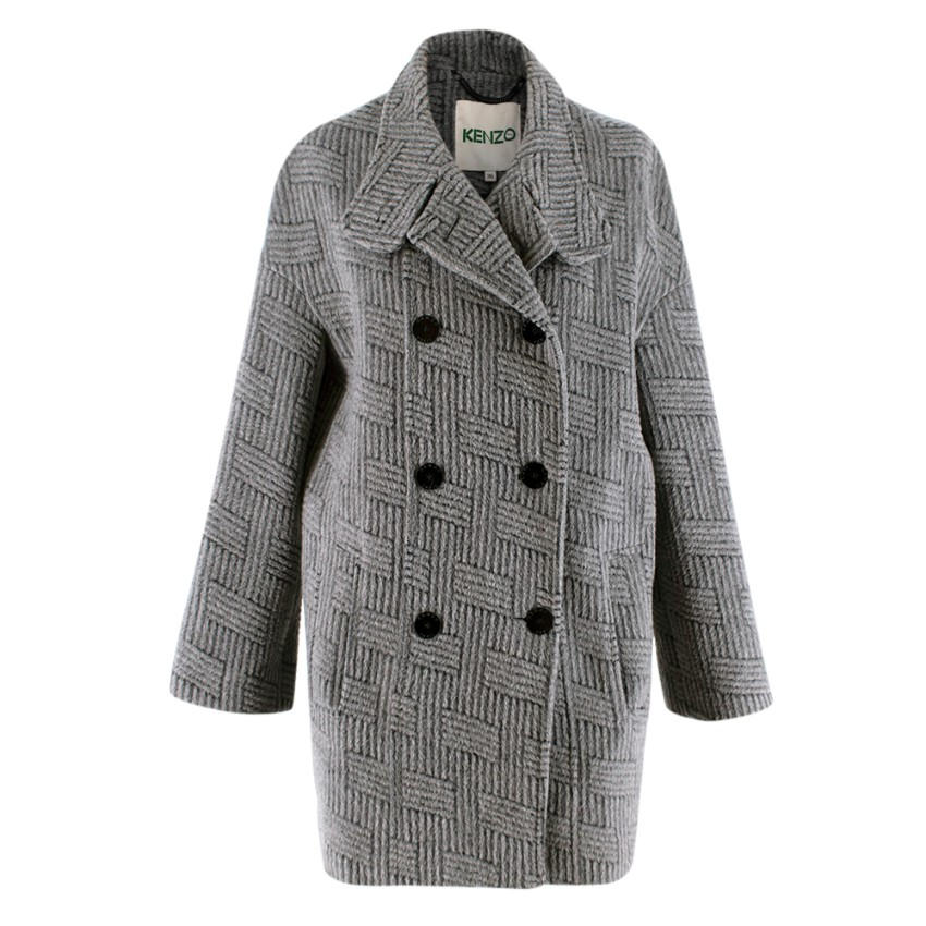 Kenzo Grey Patterned Wool & Mohair Double Breasted Coat