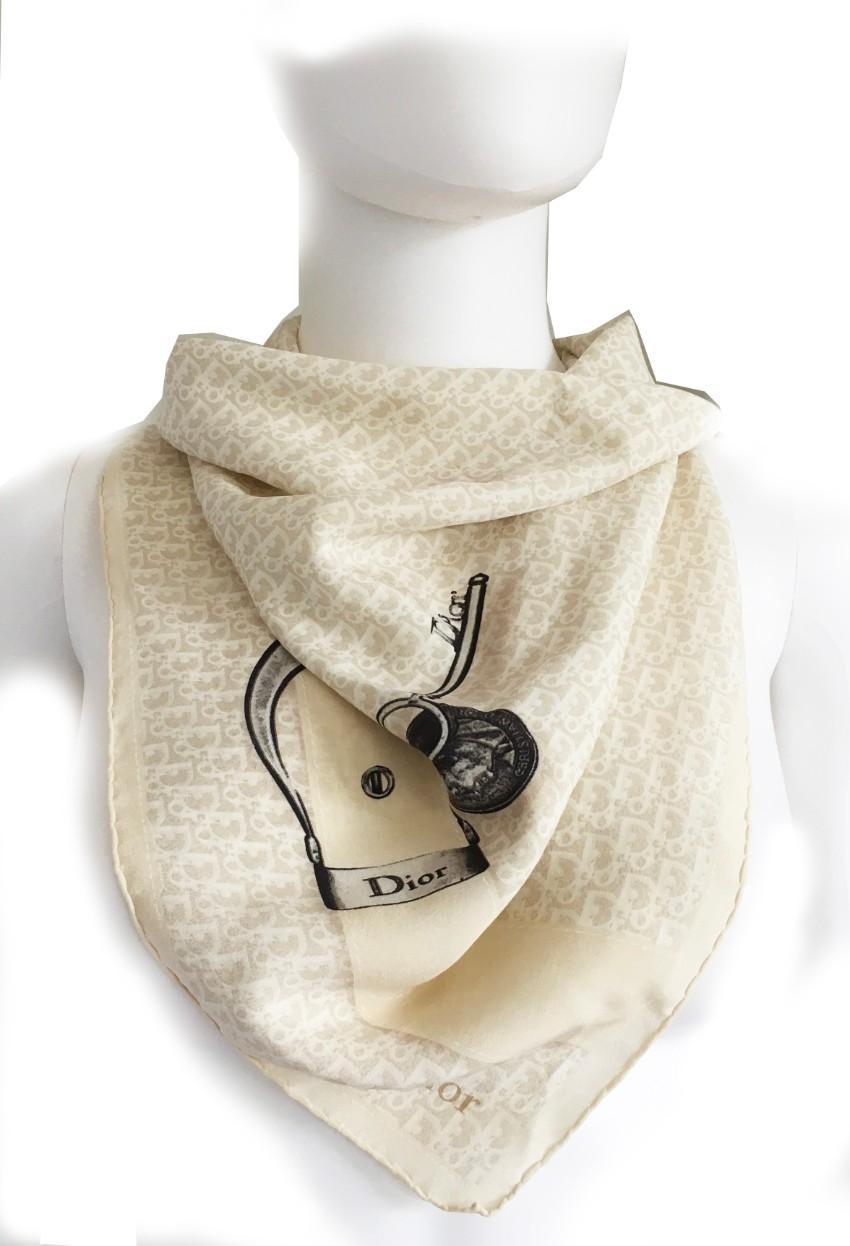 Dior by John Galliano Cream Oblique Printed Silk Scarf
