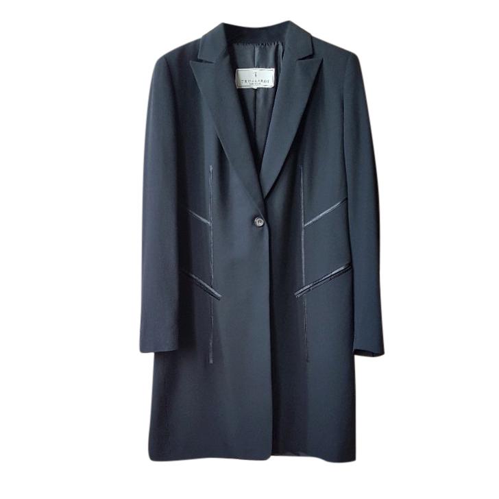 Trussardi Black Single Breasted Coat