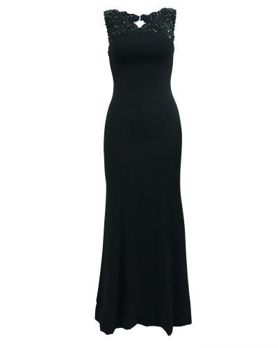 Monique Lhuillier black  crystal embellished gown