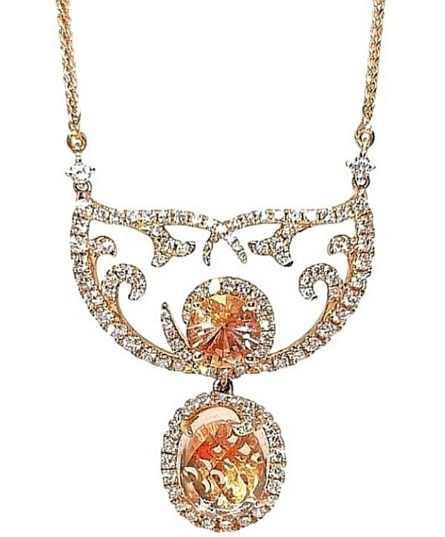 William & Son by Sarah Ho 18ct Rose Gold Morganite & Diamond Necklace