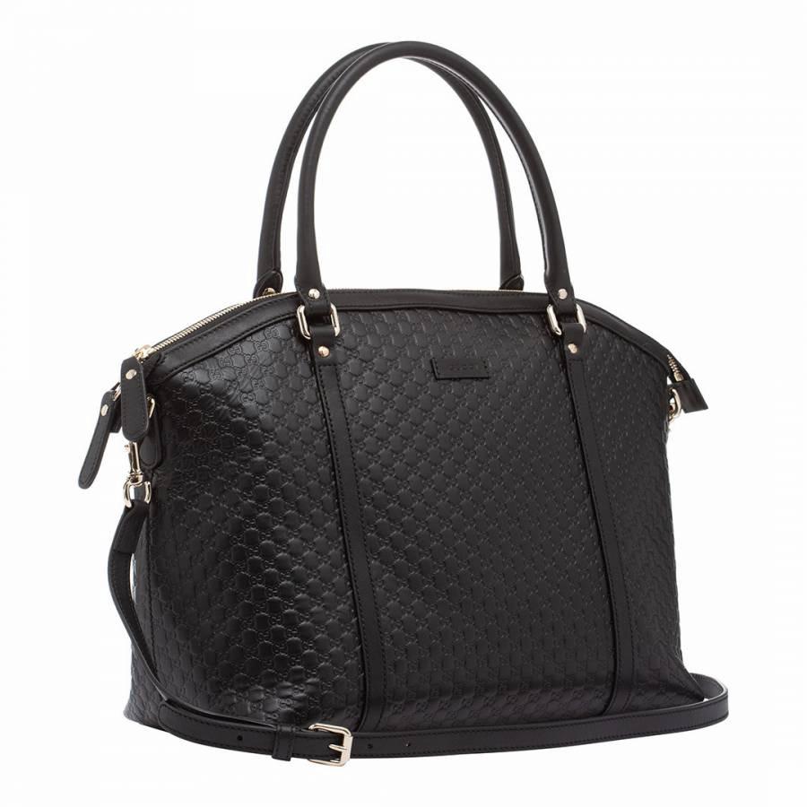 Gucci Microguccissima Black Leather Shoulder Bag