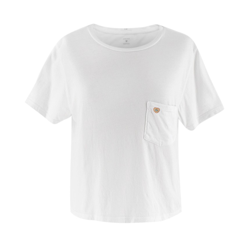 Miranda + Mother White Cotton Crop Pocket Shirt